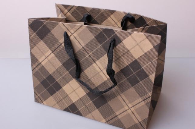 Пакет(сумка) подарочный Люкс Крафт клетка диагональ бежев/серый/черн (24х18х14)