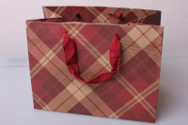Пакет(сумка) подарочный Люкс Крафт клетка диагональ красно/беж (24х18х14)