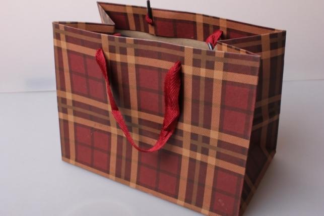 Пакет(сумка) подарочный Люкс Крафт клетка квадрат красно/бежевый (24х18х14)