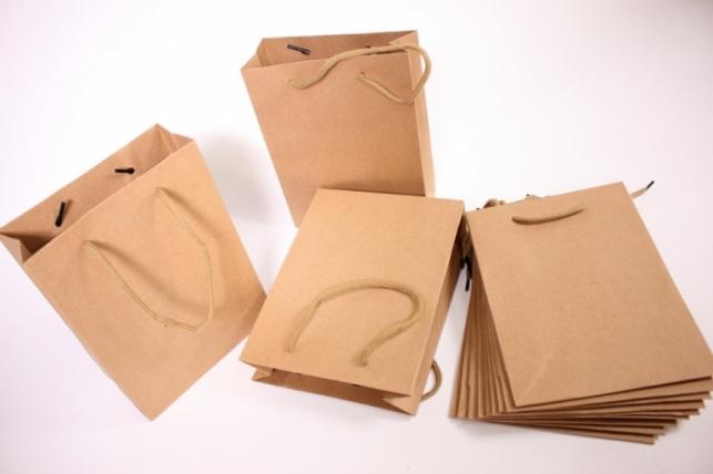 Пакеты подарочные - КРАФТ однотонный 15х20х6 (12 шт/уп)