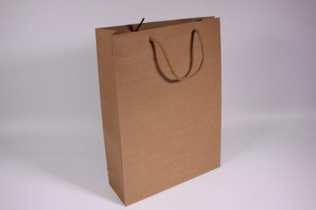 Пакеты подарочные - КРАФТ однотонный 24х33х8 (12 шт/уп)