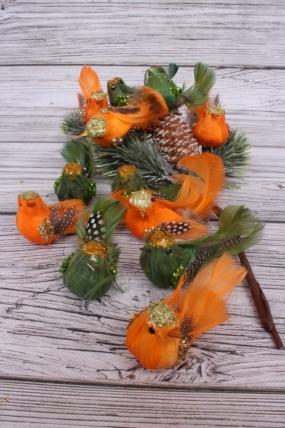 Перьевые птички 10 см по 12 шт на клипсе H130157/159A