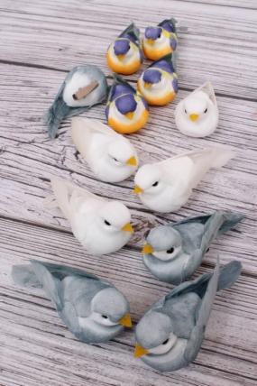 Перьевые птички 10 см по 12 шт на клипсе TH19B223