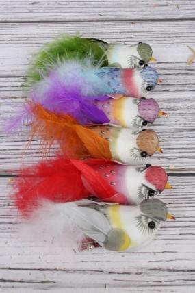 Перьевые птички 10 см по 6 шт на клипсе 283269