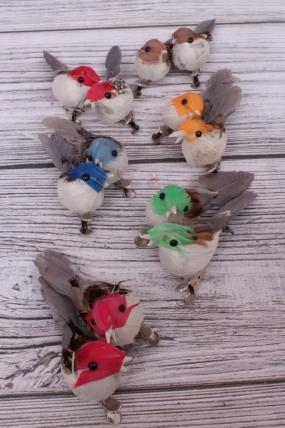 Перьевые птички в круге 10 см по 12 шт на клипсе 193244 S/12