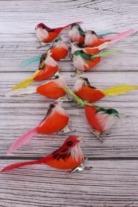 Перьевые птички в круге 10 см по 12 шт на клипсе TFB523004