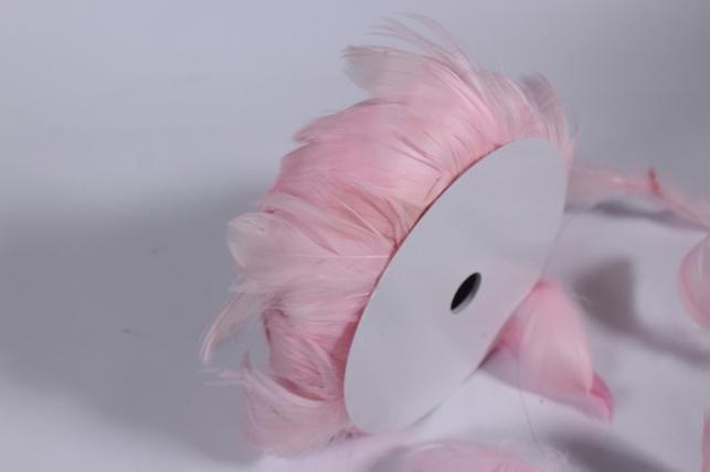 перья на проволоке розово-белые в катушке 10м