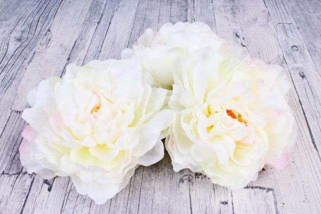 Пион 12 см цвет бело-розовый 1737 (3 шт в уп) SUN406
