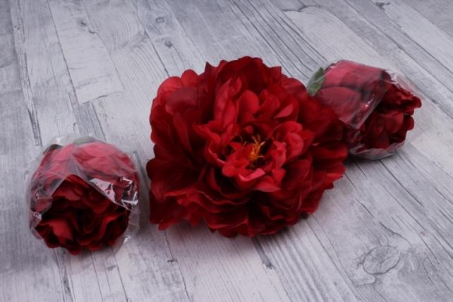 Пион 12 см цвет красный 1674 (3 шт в уп) SUN406