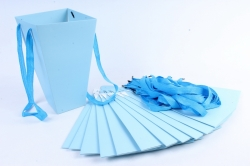 Плайм пакет Конус с ручкой для цветов (12 шт в уп) Голубой   F9
