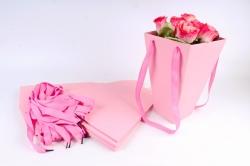 Плайм пакет Конус с ручкой для цветов (12 шт в уп) Ярко-розовый   F9