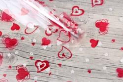 Пленка цветная Валентин 70см красно-белый (200гр)  6049729