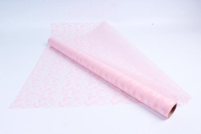 Пленка матовая 60см*10м Бабочки нежно-розовый