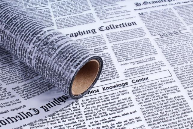 Пленка матовая 60см*10м газета черный/прозрачный