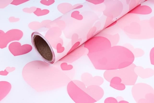 "Пленка матовая 60см*10м ""Сердца"" розовый"