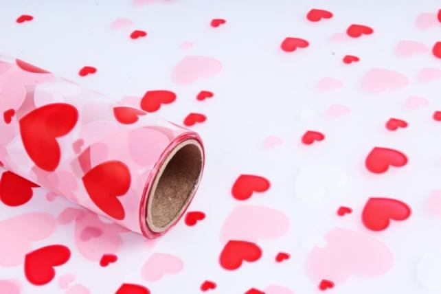 """Пленка матовая 60см*10м """"Сердечки"""" розовый"""
