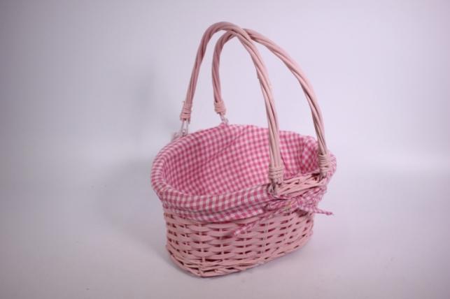 Плетёная корзина с двумя подвесными ручками (Овал) с вкладышем - розовая (код 004-КС)