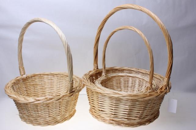 Плетеные корзины - 11-8574 Комплект корзин из 3-х штук Круглая (d=36, h=15-40см)