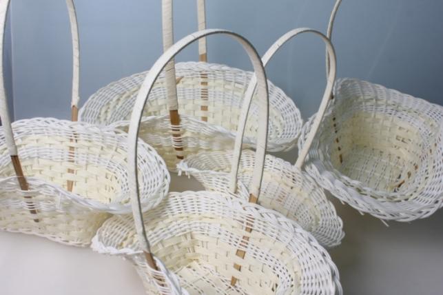 Плетеные корзины Набор (5шт) Шляпа пластиковые белые (d=36х22, h=12/35см)