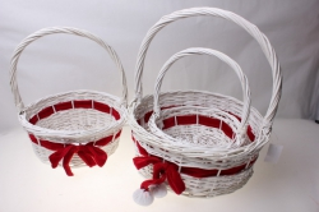 Плетеные корзины - Набор подарочный корзин из 3-х штук Круглая с бантом (d=34, h=14-37см)