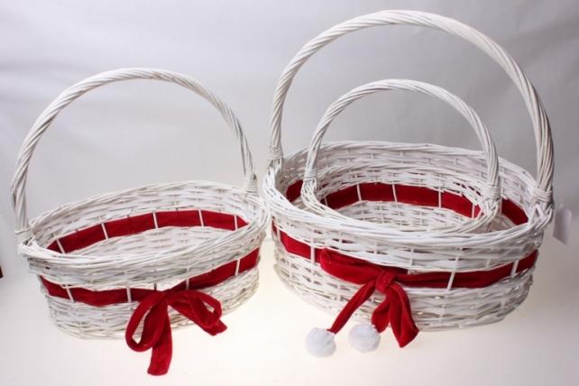Плетеные корзины - Набор подарочный корзин из 3-х штук Овал с бантом (42х32, h=15-38см)
