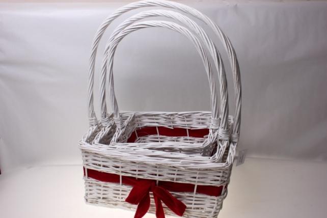 Плетеные корзины - Набор подарочный корзин из 3-х штук Прямоугольник с бантом (40х30,h=18-51см)