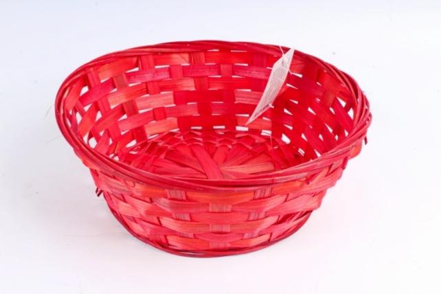 Плошка плетен. (бамбук) красный,     1шт 8053