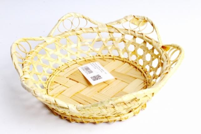Плошка плетеная ( бамбук) - Круг ажурный жёлтый