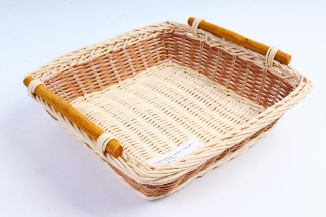 Плошка плетеная ( бамбук) - Квадрат с полоской