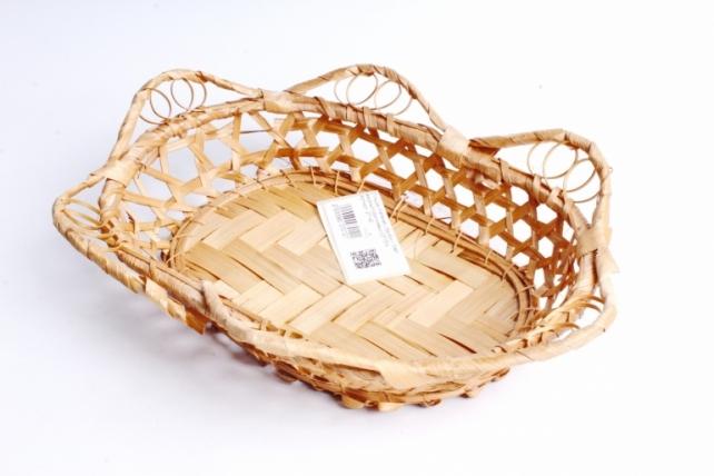 Плошка плетеная ( бамбук) - Овал ажурный коричневый