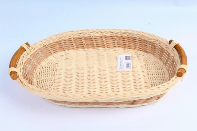 Плошка плетеная ( бамбук) - Овал с полоской коричневый