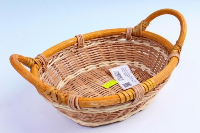 Плошка плетеная ( бамбук) - Овал с ручками коричневый