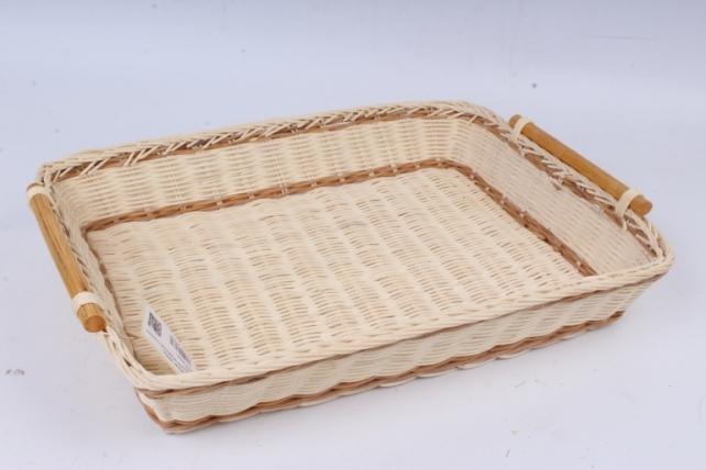 Плошка плетеная ( бамбук) - Прямоугольник натуральный с полоской