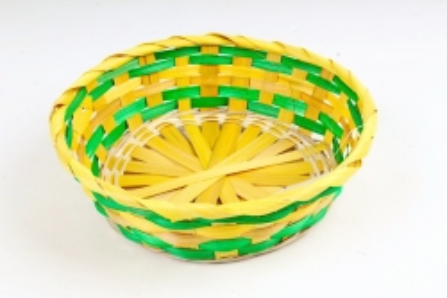 Плошка плетеная (бамбук) - Круг   желтый / зеленый 1119 М