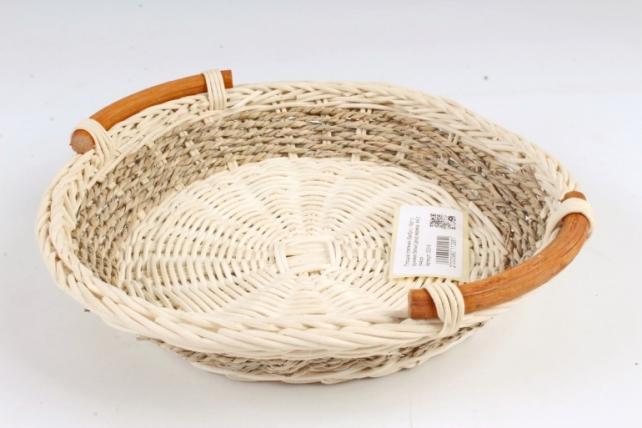 Плошка плетеная (бамбук) - Круг с ручками белый декор веревка