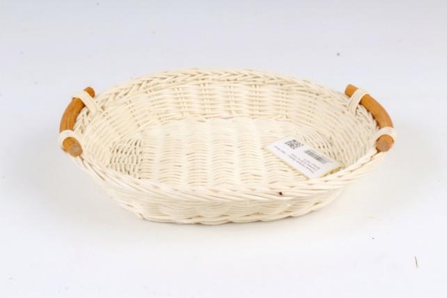 Плошка плетеная (бамбук) - Овал белый с ручками
