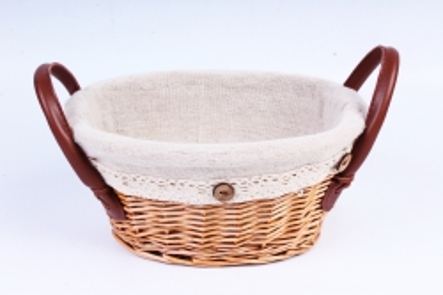 Плошка плетеная (бамбук) - Овал с ручками и ткань декор