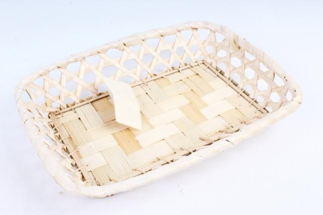 Плошка плетеная (бамбук) - Прямоугольник белый