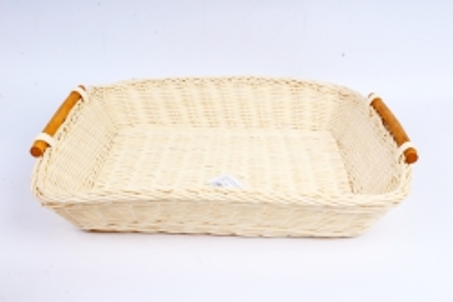 Плошка плетеная (бамбук) - Прямоугольник большой белый