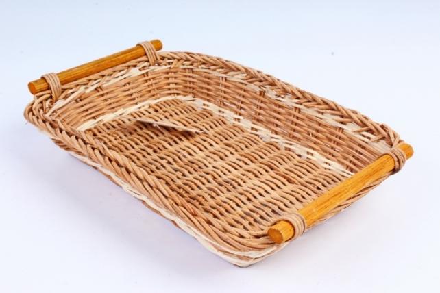 Плошка плетеная (бамбук) - Прямоугольник коричневый с ручками