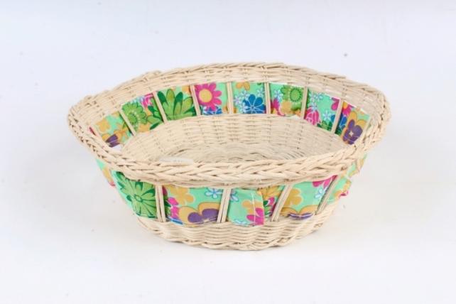 Плошка плетеная (бамбук) - Шестигранник с тканевой лентой  d=21, h=8см