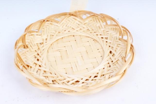 Плошка плетеная (бамбук) - Тарелка натуральная