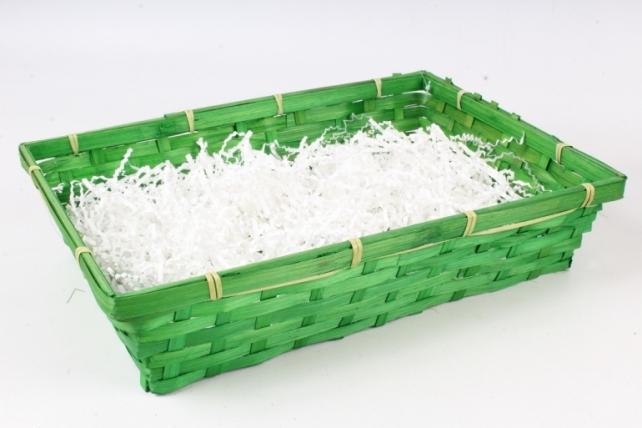 Плошка плетеная (бамбук), D36х26хН8 см, зеленый  1058