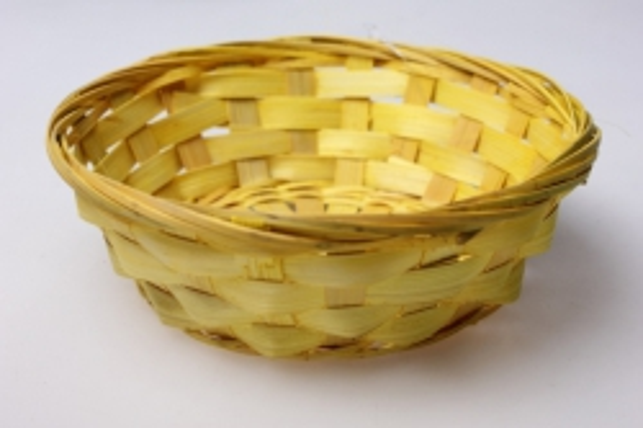 Плошка плетеная (бамбук) желтый, d=14, h=4см 8543 1шт