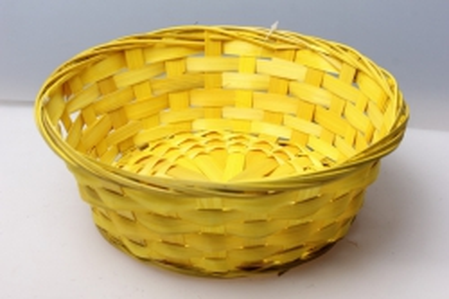 Плошка плетеная (бамбук) желтый d=23, h=8см 8482
