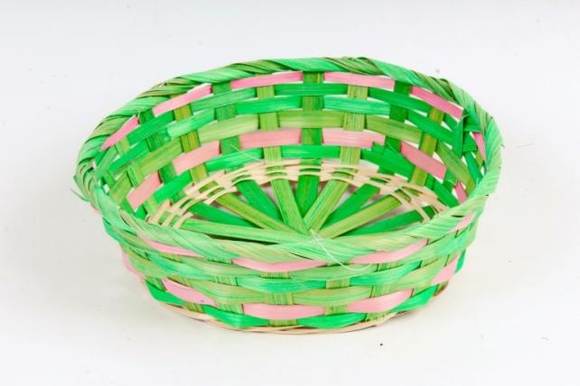 Плошка плетеная (бамбук)- Круг  зеленый 1133 М