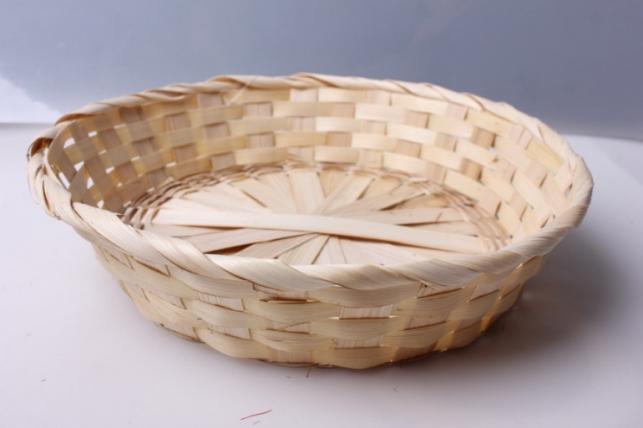 Плошка плетеная (бамбук) натуральная, d=26, h=4,5см 1шт