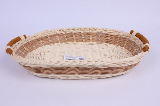 Плошка плетеная ( бамбук) - Овал большой натуральный  34*24*5см