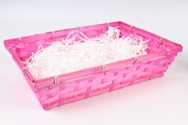 Плошка плетеная (бамбук) Прямоугольник  D36х26хН8 см, розовый  1041