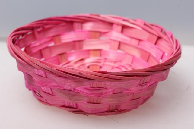 Плошка плетеная (бамбук) розовый d=15, h=4см 8550